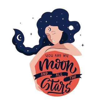 Het citaat en het maanmeisje de zin jij bent mijn maan en alle sterren zijn goed voor ruimteontwerpen