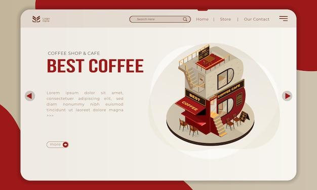 Het coffeeshopgebouw met isometrische letter b voor de beste koffie op de bestemmingspagina