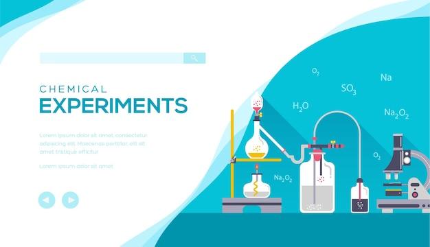 Het concept experimenteert met de chemische apparatuur. webbanner die chemische experimenten uitvoert.