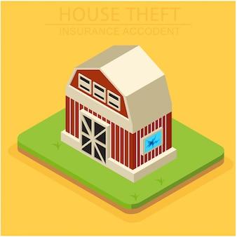 Het concept isometrische verzekering voor huisschade