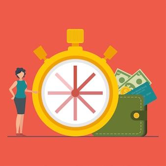 Het concept tijd is geld of tijd om te betalen.