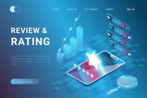 Het concept van beoordeling en feedback voor freelancers in isometrische 3d-illustratiestijl