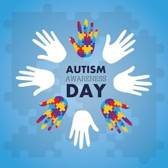 Het concept van de autismevoorlichting met hand van raadselstukken als symbool