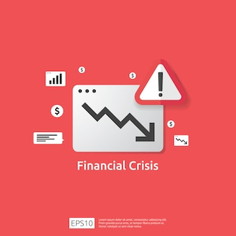 Het concept van de bedrijfsfinanciëncrisis met waakzaam uitroepteken. geld grafiek vallen symbool. pijl verminderen economie uitrekken stijgende daling. verloren failliet dalende. kostenbesparing. verlies van inkomen
