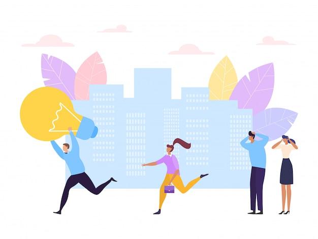 Het concept van de bedrijfsideedief, illustratie. man karakter diefstal lamp en rennen, stelen zakenman hersenen werk symbool.