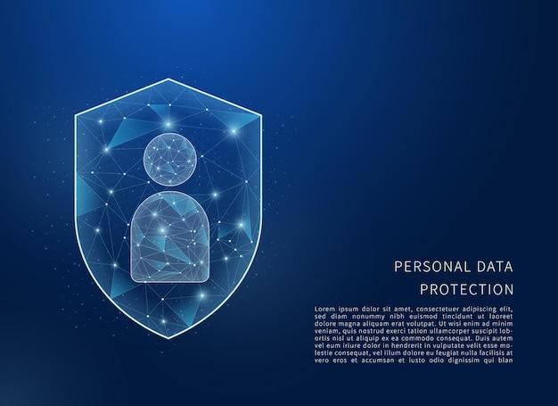 Het concept van de bescherming van persoonsgegevens veelhoekige draadframe illustratie van schild en persoonlijke gegevens