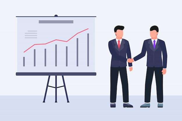 Het concept van de de handschok van de transactieovereenkomst met twee bedrijfsmens en grafiek en grafiek