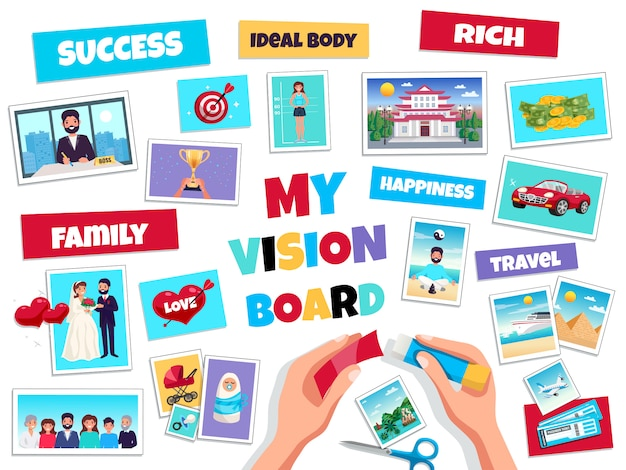 Het concept van de de visieraad van dromen met succes en reis, vlak geïsoleerde vectorillustratie