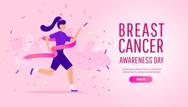 Het concept van de de voorlichtingsillustratie van borstkanker met lopende sport of liefdadigheidslooppas
