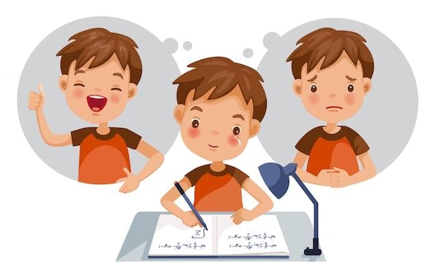 Het concept van de geestelijke gezondheid van kinderen jongen.