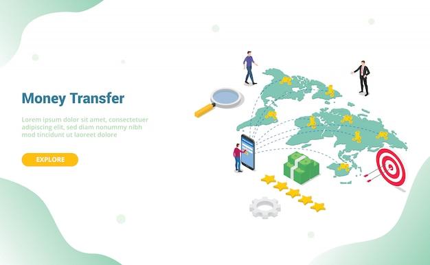 Het concept van de geldoverdracht met mensen die geld voor websitemalplaatje verzenden of landende homepage