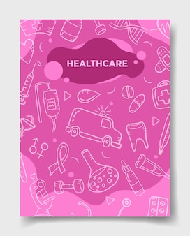 Het concept van de gezondheidszorgindustrie met krabbelstijl voor sjabloon van banners, flyer, boeken en tijdschriftdekking vectorillustratie