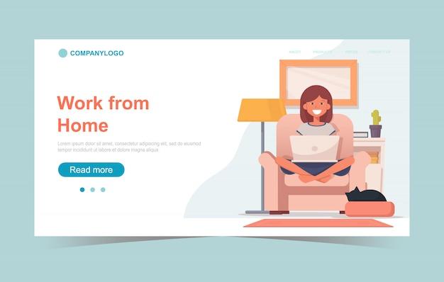 Het concept van de het bureau landende pagina van het huis met het glimlachen vrouwenzitting op een stoel met laptop