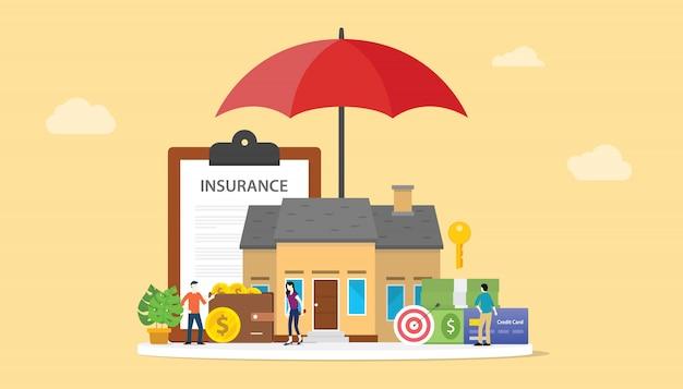 Het concept van de huisverzekering met huis en document contractdocument