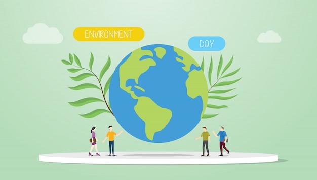 Het concept van de milieudag met grote aarde en groene installatie met teammensen en woorden