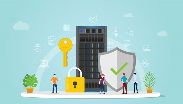 Het concept van de serverveiligheid met teammensen die samenwerken