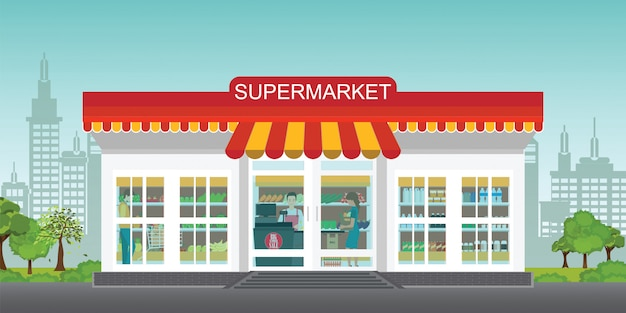 Het concept van de supermarktopslag met mensen in supermarkt