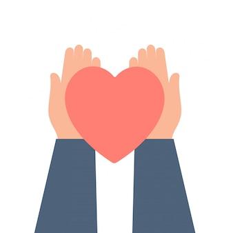 Het concept van de valentijnskaartendag met menselijke handen houdt rode valentijnskaartkaart van hartvorm.