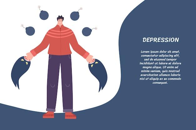 Het concept van depressie: monsters trekken een man aan stukken