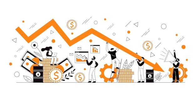 Het concept van economische achteruitgang, winst en verlies, zaken en financiën. crisis in de wereldeconomie. grafiek weigeren en neerzetten.