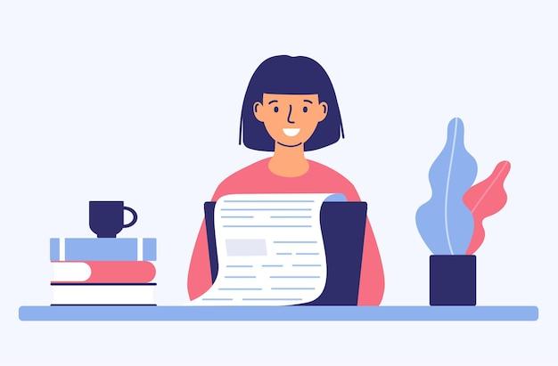 Het concept van een copywriter die een blog maakt het idee om teksten te schrijven creativiteit en promotie