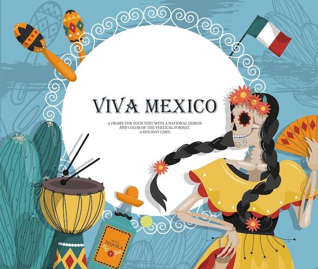 Het concept van een mexicaanse ansichtkaart met muziekinstrumenten en een skelet van een danseres.
