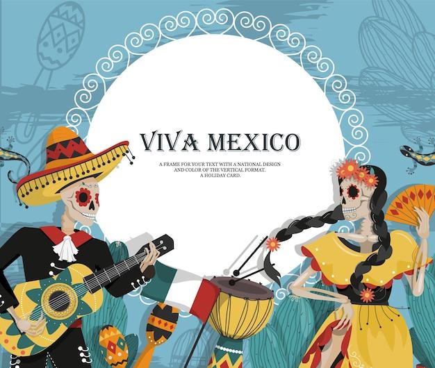 Het concept van een mexicaanse ansichtkaart met skeletten, een muzikant en een danseres.