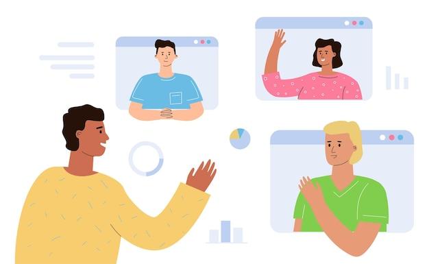 Het concept van een online vergadering, een videogesprek van collega's voor een briefing.