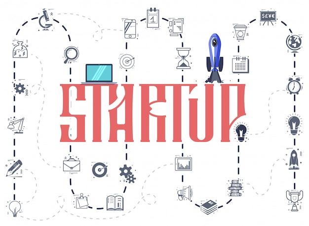 Het concept van een startup infographic