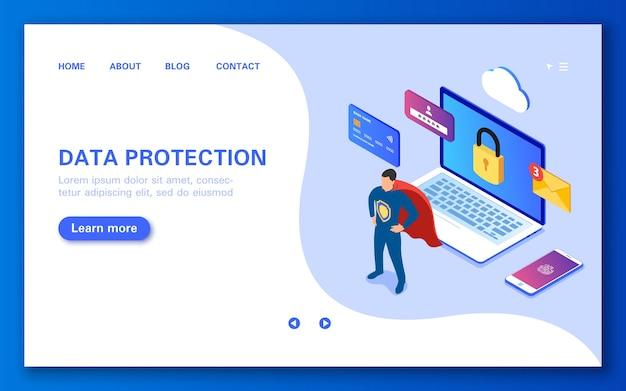 Het concept van gegevensbescherming veilig online winkelen, persoonlijke sms-gegevens en internetten