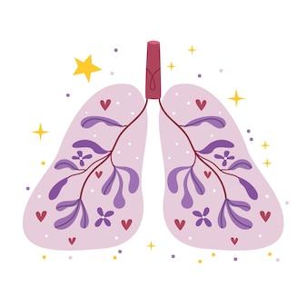 Het concept van gezonde longen. op de achtergrond van de longen groeien paarse bloemen. leuke poster. eenvoudige illustratie.