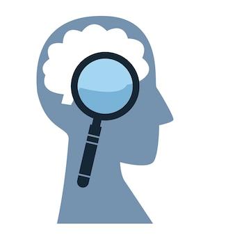 Het concept van het bestuderen van de hersenen vergrootglas is gericht op het silhouet van het hoofd van een man