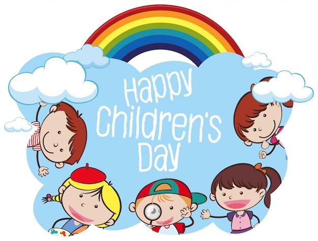 Het concept van het de dagjonge geitje van gelukkige kinderen