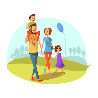 Het concept van het familieweekend met ouders en kinderen die beeldverhaal vectorillustratie lopen