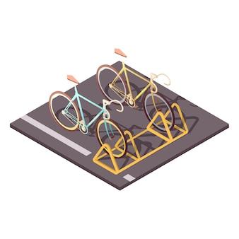 Het concept van het fietsparkeren met de isometrische vectorillustratie van de stadsfietsritssymbolen