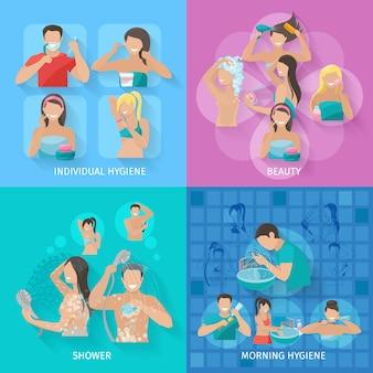 Het concept van het hygiëneontwerp dat met schoonheid en douche vlakke pictogrammen wordt geplaatst