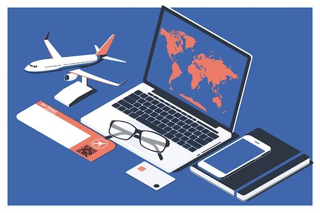 Het concept van het kopen van de online ticketboeking voor reizen