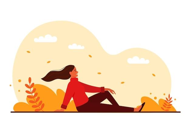 Het concept van het leven op dit moment. een vrouw rust in stilte in een herfstpark. platte vectorillustratie