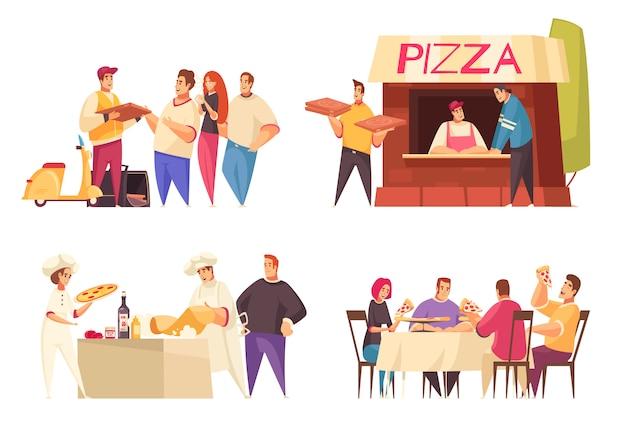 Het concept van het pizzaontwerp met de pizzawinkel en familie van de pizzalevering bij de beschrijvingen vectorillustratie van de dinerlijst