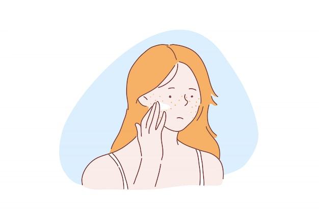 Het concept van het tiener skincare probleem