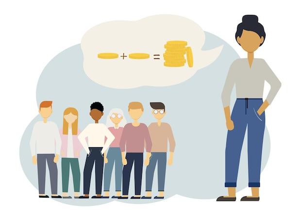 Het concept van het trainen van mensen om te werken met geld, financiën, investeringen, inkomen te verhogen