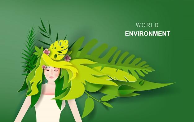 Het concept van het wereldmilieu dame meisje met lang haar draagt tropisch groen blad