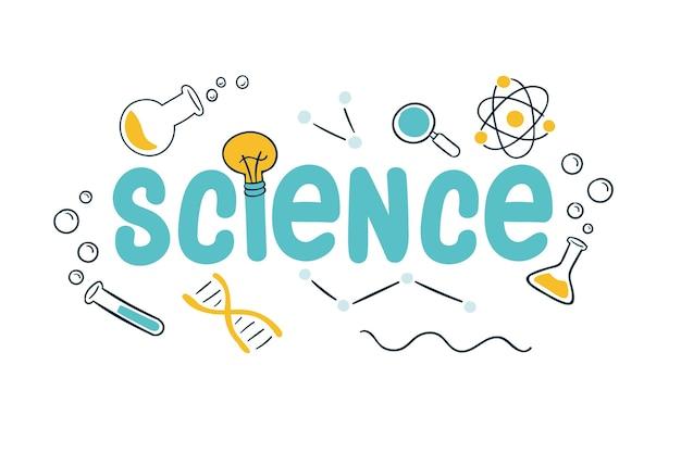 Het concept van het wetenschapswerk met laboratoriumvoorwerpen