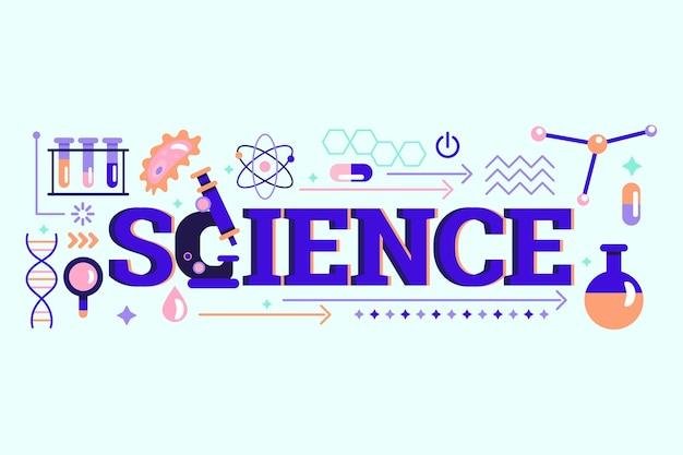 Het concept van het wetenschapswoord met elementen