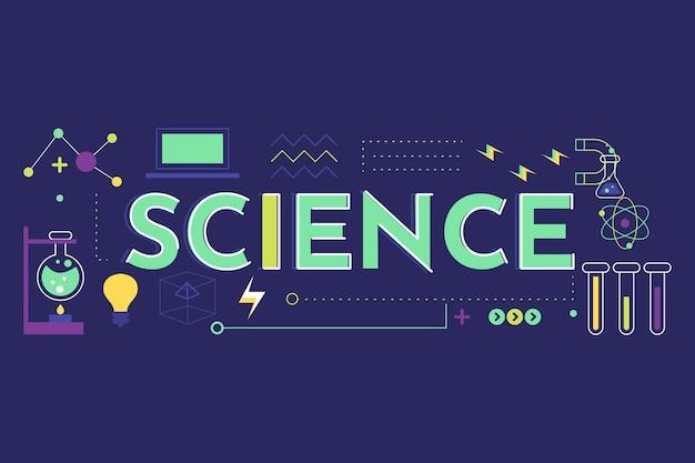 Het concept van het wetenschapswoord met geplaatste elementen