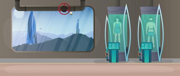 Het concept van kolonisatie van planeten. futuristisch laboratorium met cryogene capsules.