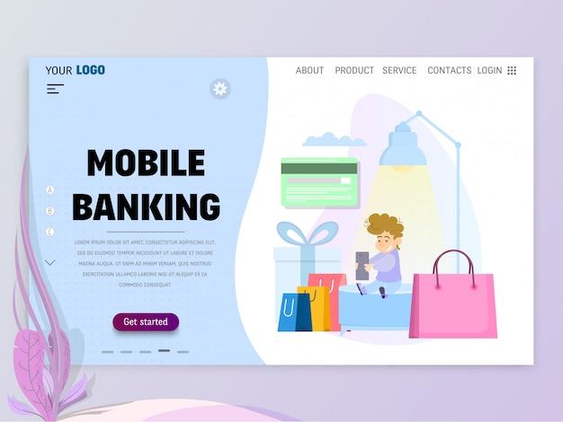 Het concept van mobiel bankieren, startsjabloon voor website of bestemmingspagina.