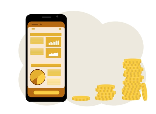 Het concept van online gaming op de beurs. een telefoon met een afbeelding van grafieken en een stapel munten ernaast. vector illustratie