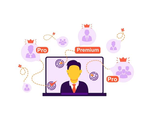 Het concept van online uitzending die kijkers verbindt, online les webinar training vector geïsoleerd
