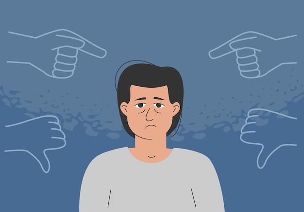 Het concept van pesten, innerlijke criticus, negatieve zelfbespreking, laag zelfbeeld. de trieste man wordt omringd door veroordelende gebaren.